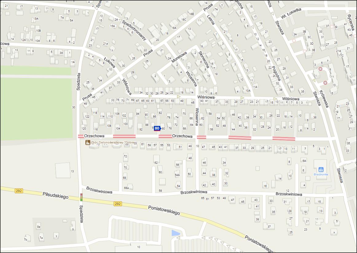 Głogów, Orzechowa, 80, mapa Głogów